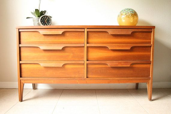Mid Century Johnson Carper Double Dresser Vintage Danish Modern Credenza Mad Men Eames Era