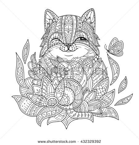 Zentangle Stylized Cat In Flowers With Butterfly Hand Drawn Fat Fluffy Portrait For Adult Coloring Page Vector Illustration On A White Background