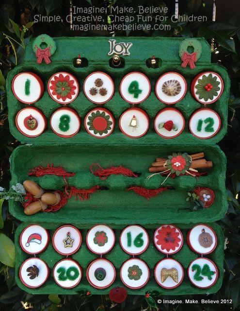 Free Christmas Craft Ideas For Kids Part - 50: Imagine Make Believe Creative Simple Cheap Fun Children Kids Advent  Calendar Free Tutorial Project Christmas Craft Egg Carton Milk Bottle Li.