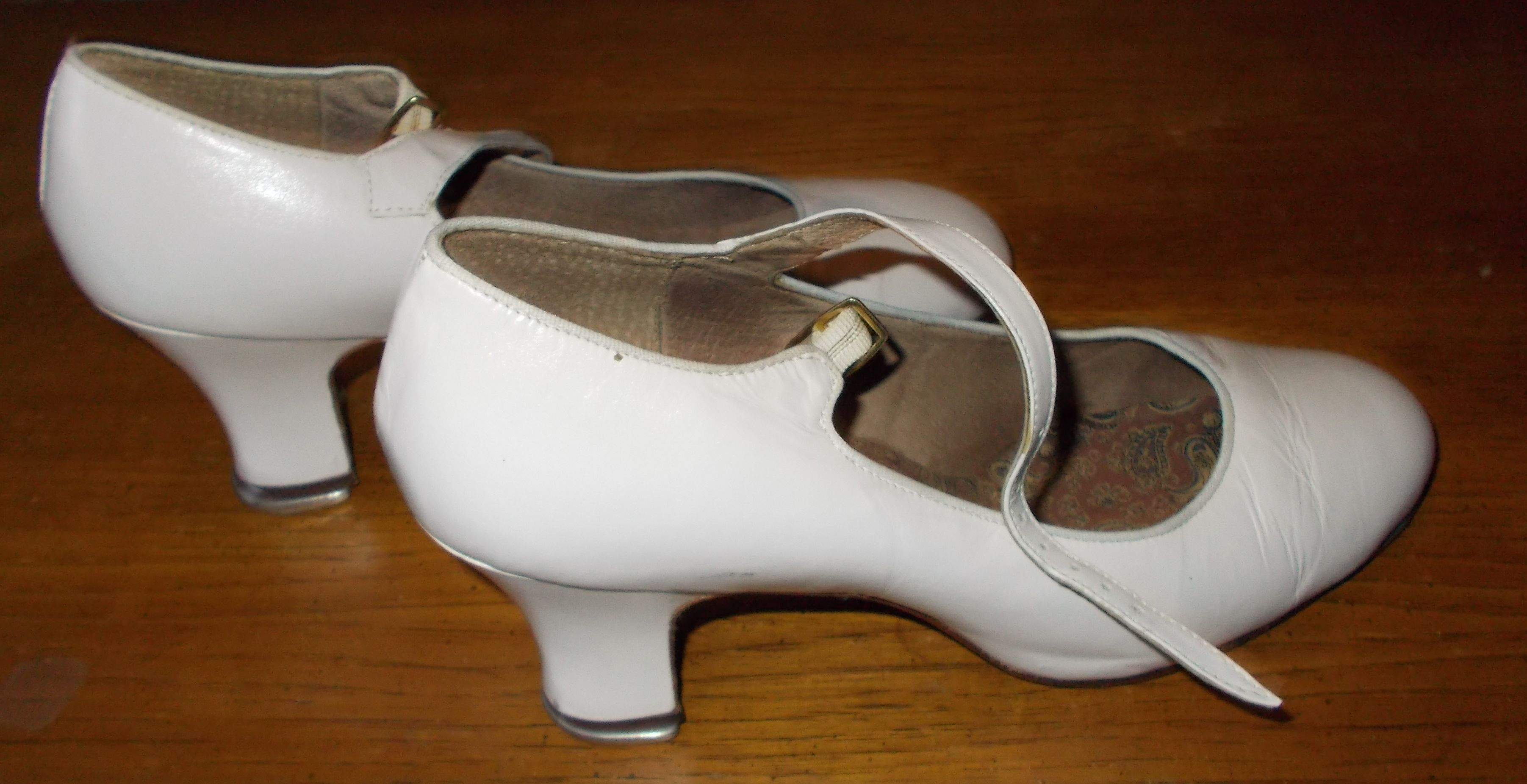 White Capezio high heel tap dance shoes