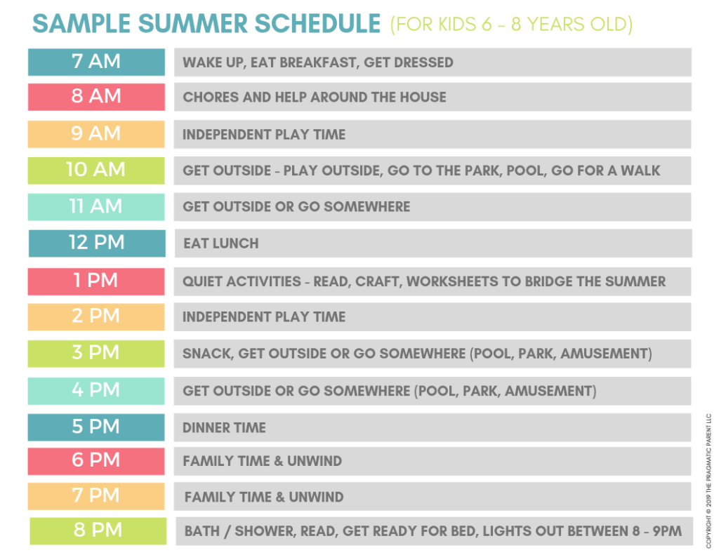 Sample Summer Schedules for Kids (& Smoother Days Ahead!) #summerschedule Need a summer schedule for kids? I created a summer schedule for kids that will help structure your days. Daily routines for kids #summerschedule
