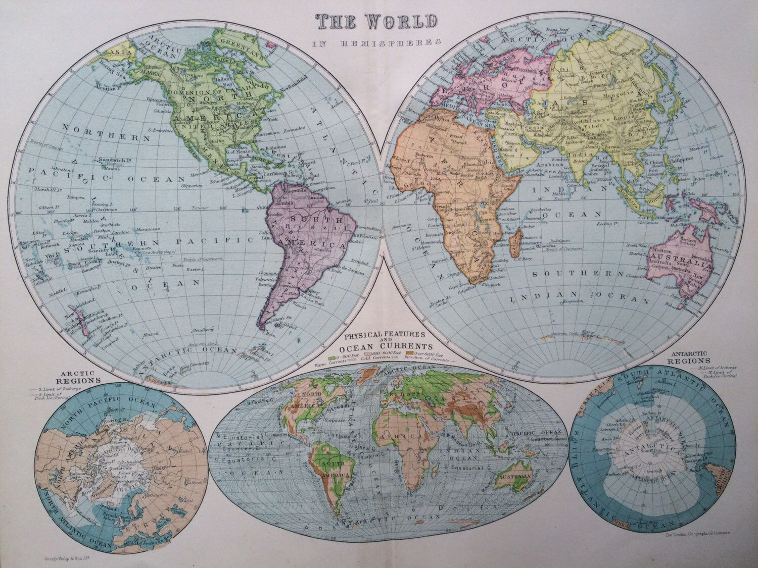 Original antique world map c1919 105 x 135 inches philips original antique world map c1919 105 x 135 inches philips atlas gumiabroncs Gallery