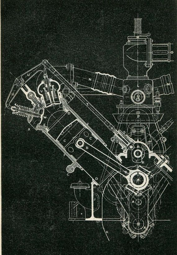 Mechanical Engineering Drawing Wolseley Motor 120 HP 8 cylinders - copy business blueprint for manufacturing