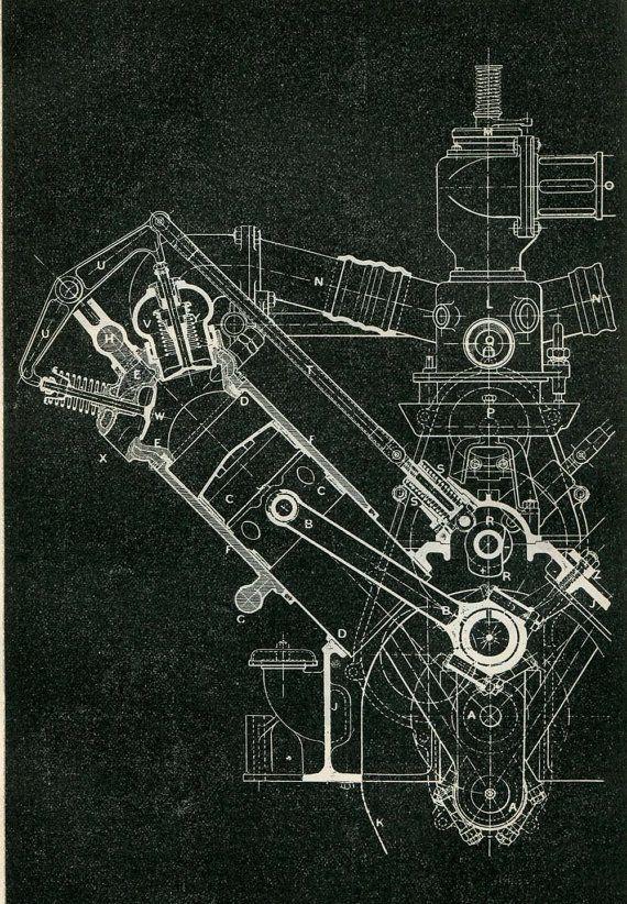 Mechanical Engineering Drawing Wolseley Motor 120 HP 8 cylinders - fresh blueprint design career
