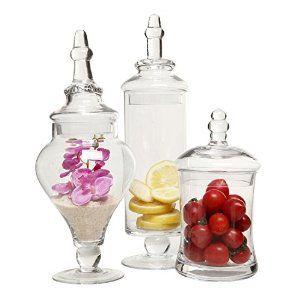 amazoncom designer clear glass apothecary jars 3 piece set decorative weddings - Decorative Glass Jars