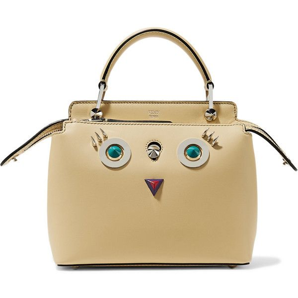Fendi DotCom petite embellished leather shoulder bag (6.934.805 COP) ❤ liked on Polyvore featuring bags, handbags, shoulder bags, zip pouch, fendi handbags, shoulder strap bags, brown leather handbags and leather purses