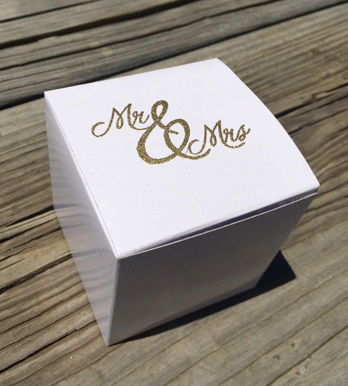 10 gold embossed cupcake boxes, Mr. & Mrs. Cupcake box, wedding ...