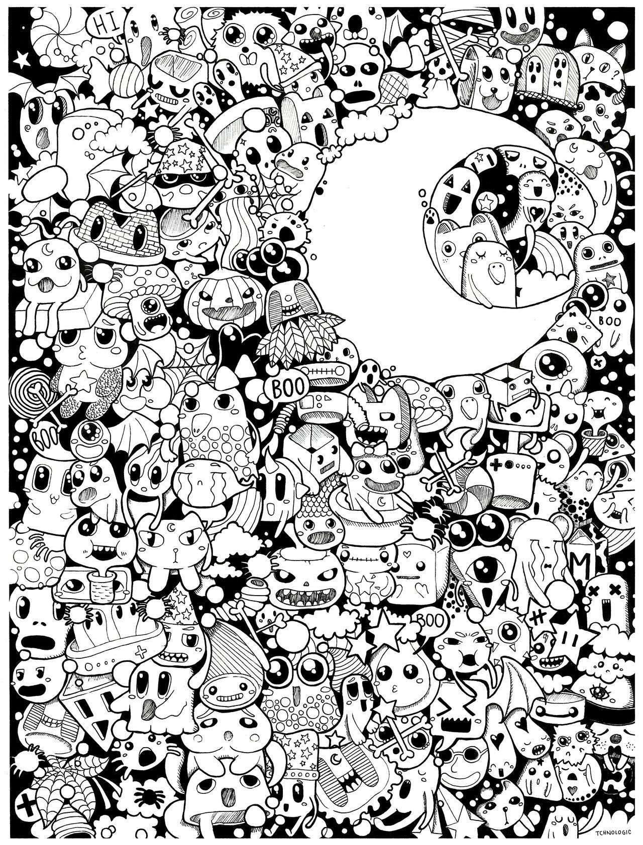 halloween doodle (bw) by on