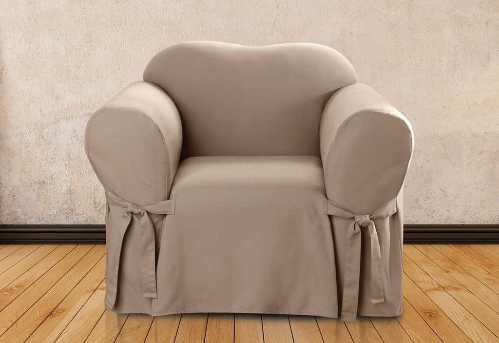 Cotton Duck One Piece Straight Skirt Chair Slipcover 100