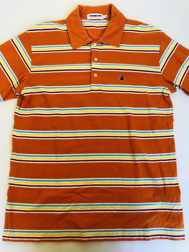 abbc673f A BATHING APE Multi Color Striped Polo Shirt Size Large Made in Japan BAPE  L #fashion #clothing #shoes #accessories #mensclothing #shirts (ebay link)