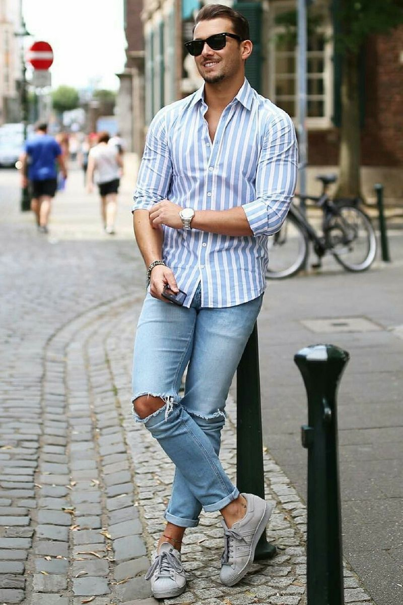 c5be08b4 Casual Shirt Outfits For Men | clothes tips | Ripped jeans men, Mens ...