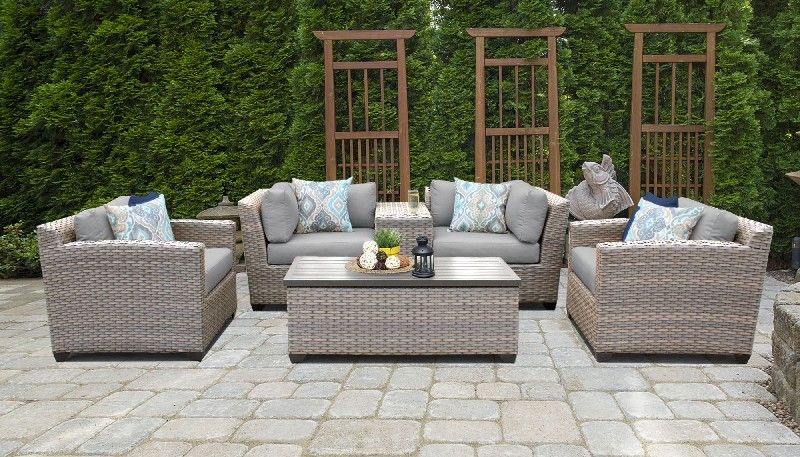 Florence 6 Piece Outdoor Wicker Patio Furniture Set 06d In Grey