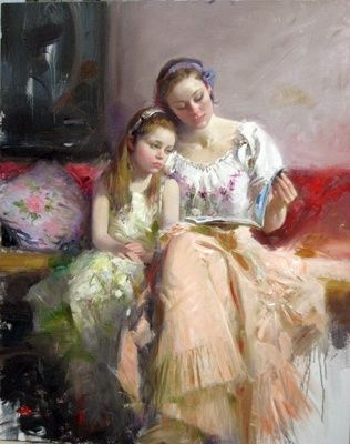 Mother and child reading.