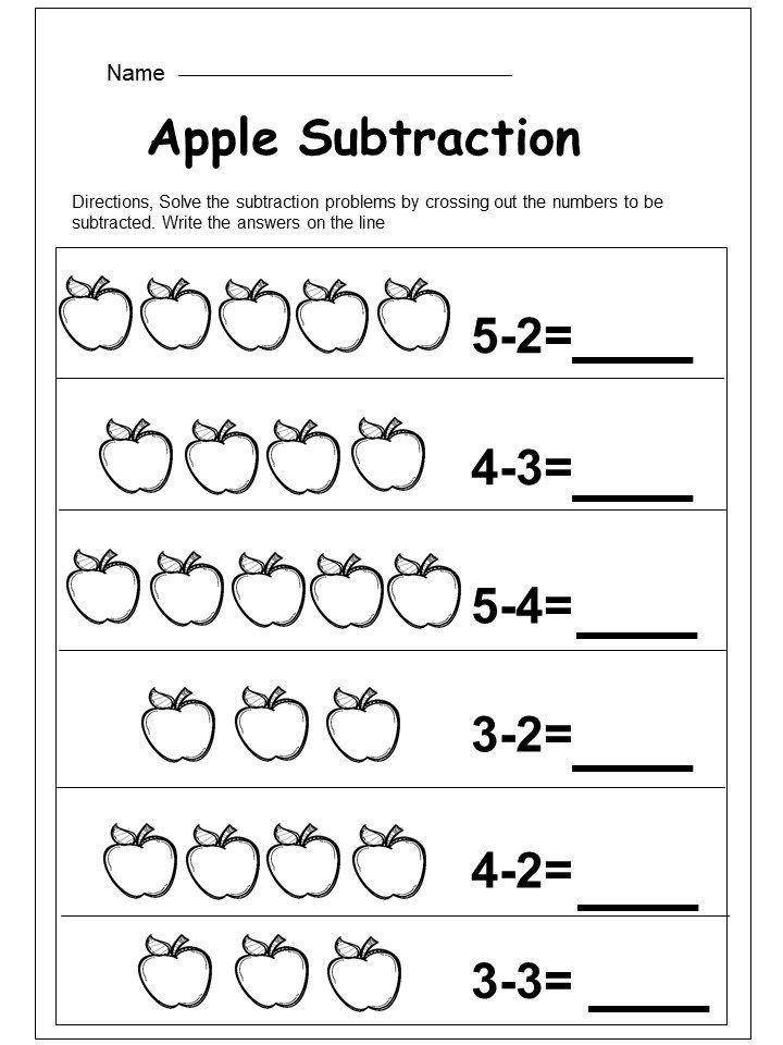 Free Kindergarten Subtraction Worksheet - kindermomma.com