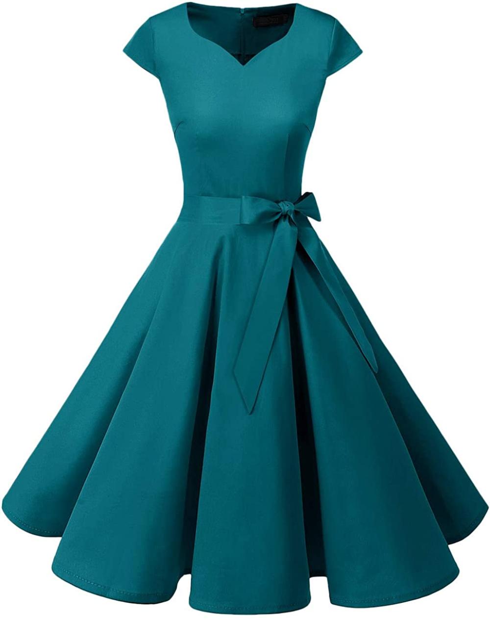 Amazon Com Dresstells 50s Style Retro Pinup Dress Audrey Hepburn Style Blush S Clothing Dresses Cocktail Dress Womens Cocktail Dresses [ 1264 x 1000 Pixel ]