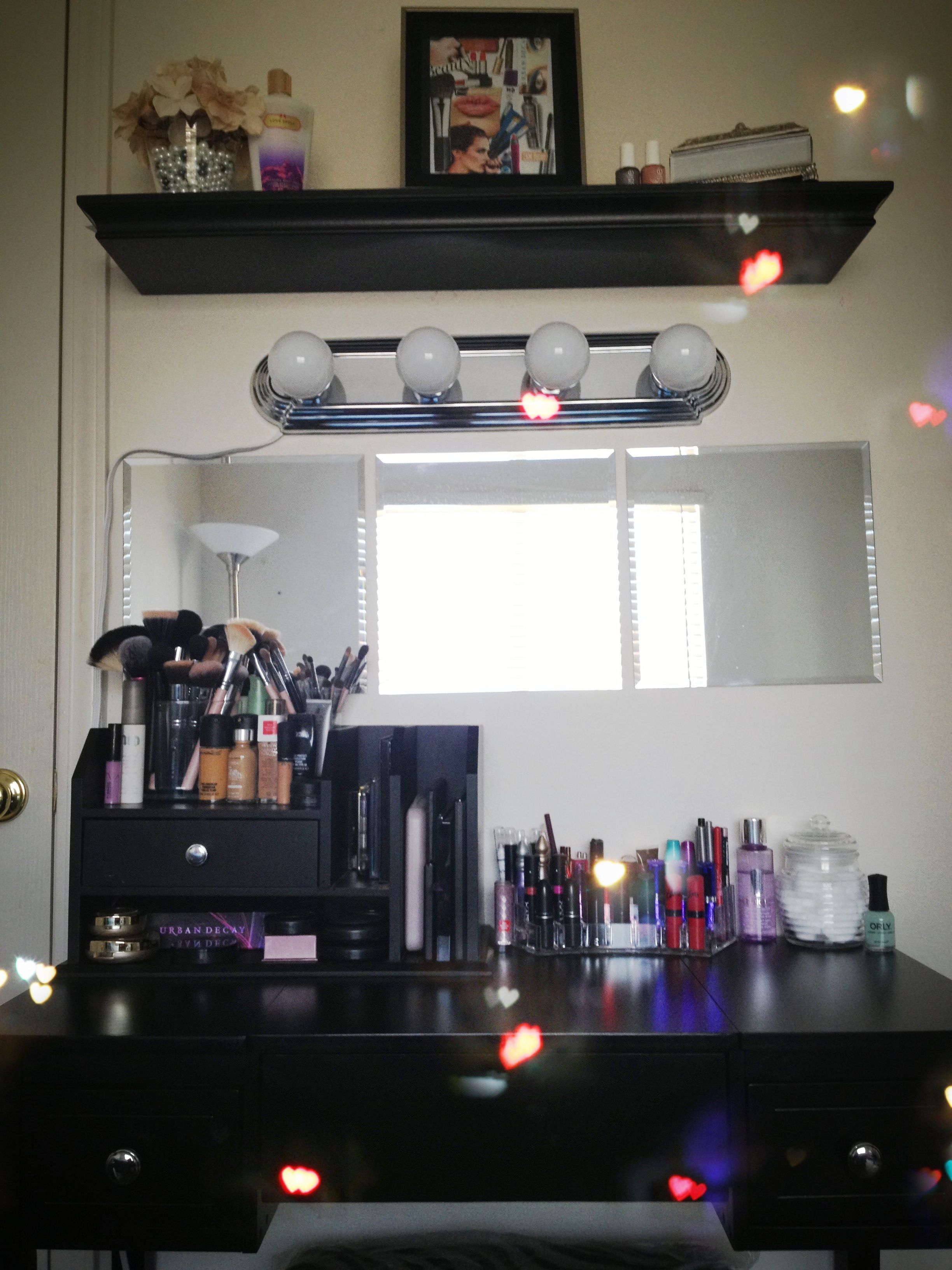 Vanity Table With Lighted Mirror Diy : DIY VANITY AREA! Love love loveeeee Vanity table is from bed bath and beyond. I switched out ...