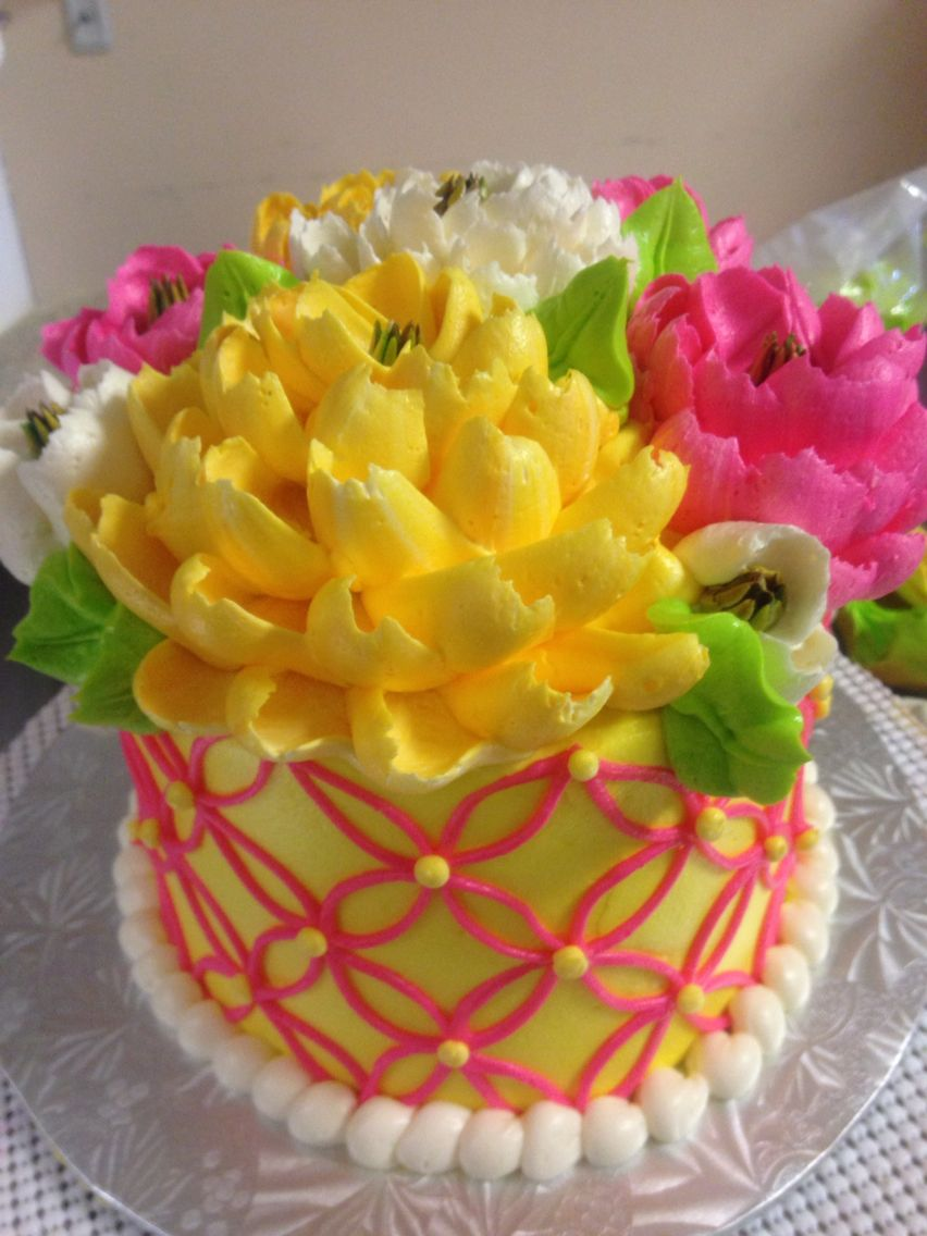Beautiful Bright Buttercream Cake By The White Flower Cake Shoppe