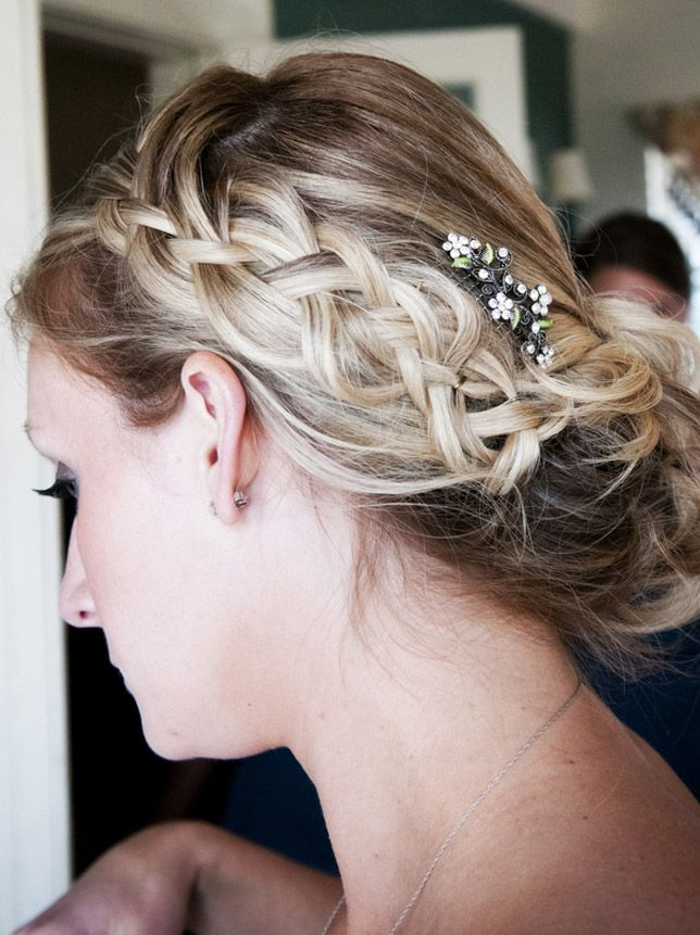 A Loose Bohemian Braided Up Do With Woven Babies Breath Weddinghair Braid