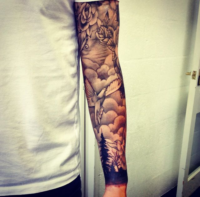 Full sleeve, silhouette trees, mountains, Rose, #tattoos # ...