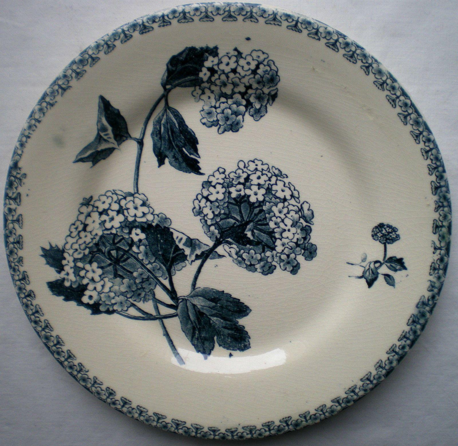 assiette art nouveau terre de fer boule de neige en gris bleu sign e gien ebay d co table. Black Bedroom Furniture Sets. Home Design Ideas