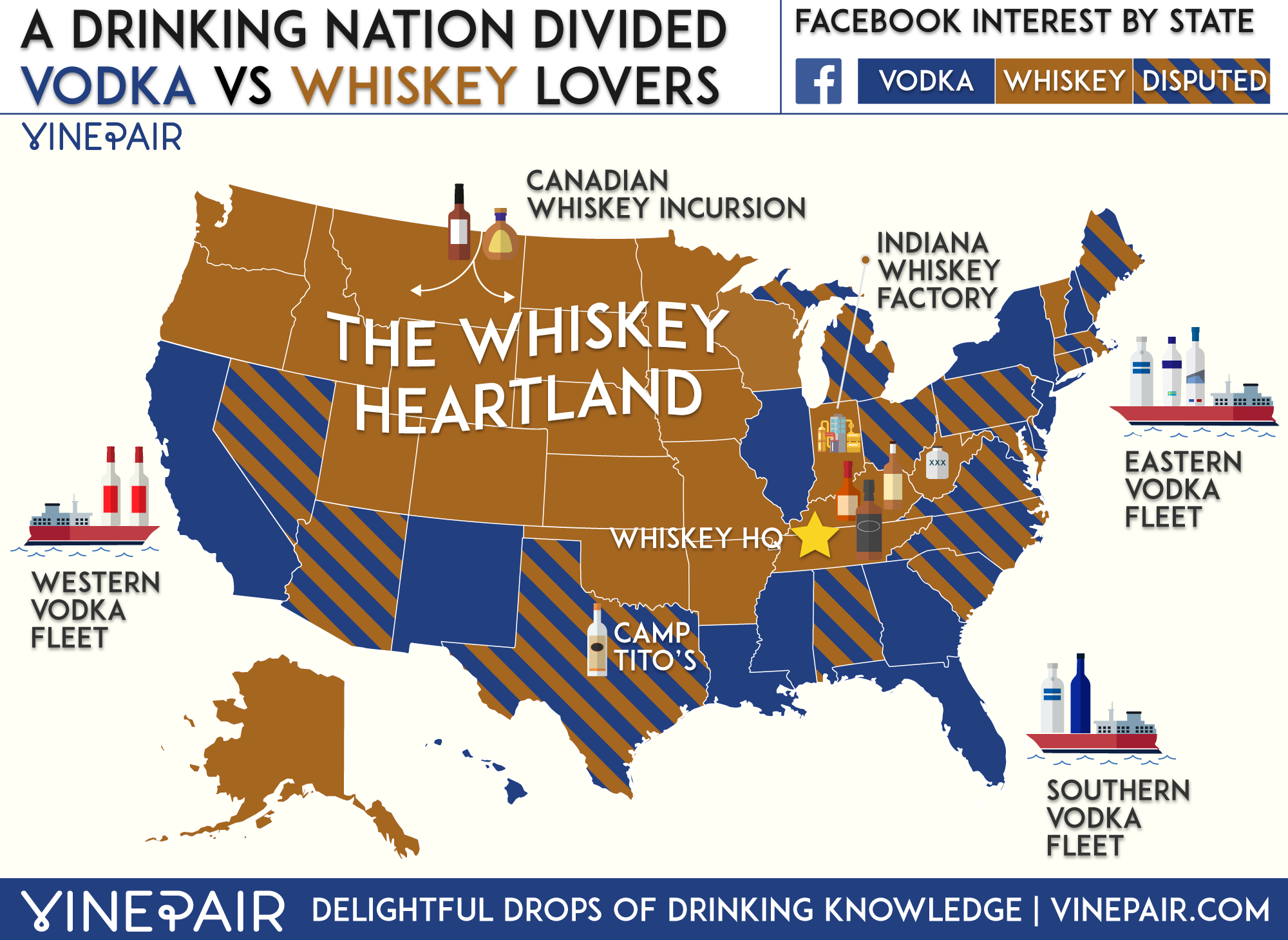 Map Vodka Vs Whiskey Lovers By State