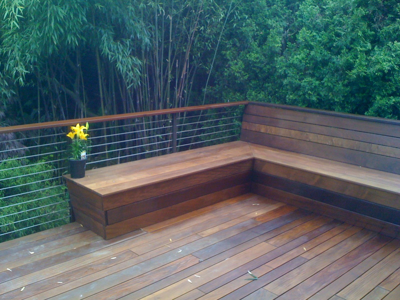 Deck railing designs with benches see 100s of deck railing for Deck blueprints