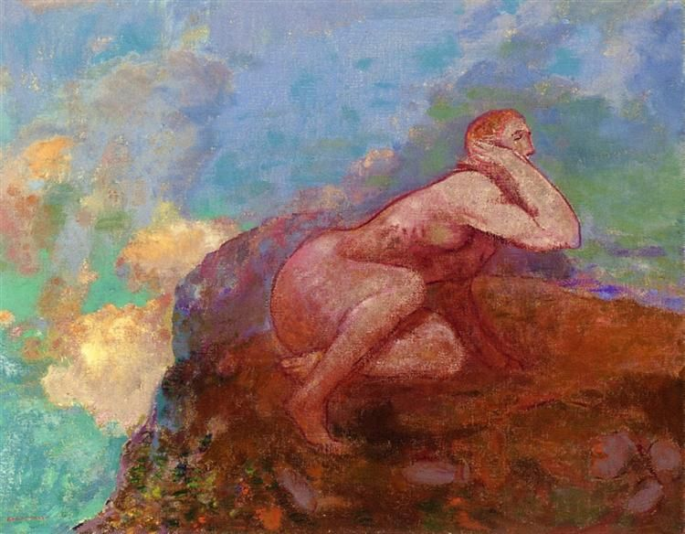 Nude Woman on the Rocks by Odilon Redon. Symbolism. nude painting ...