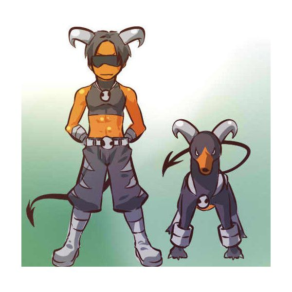安価で適当にポケモン擬人化描くスレ まとめ - デルビル‐ヘルガー ❤ liked on Polyvore featuring pokemon