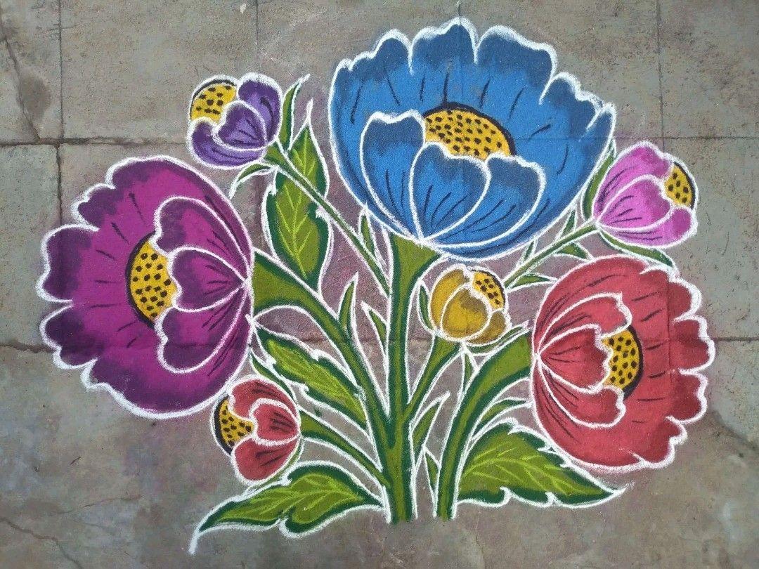 Pin by Jacqueline on rangoli in 2020 Rangoli designs