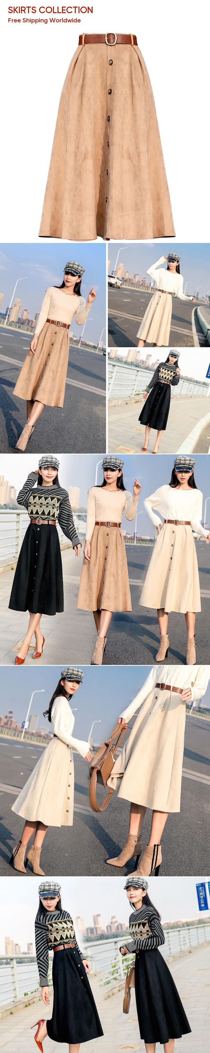 411d66b9422dd Office Lady Winter False Velvet Elegant Fashion Skirt 2019 New Spring Half  Long High Waist Plus Size A-skirt Girls Casual Party