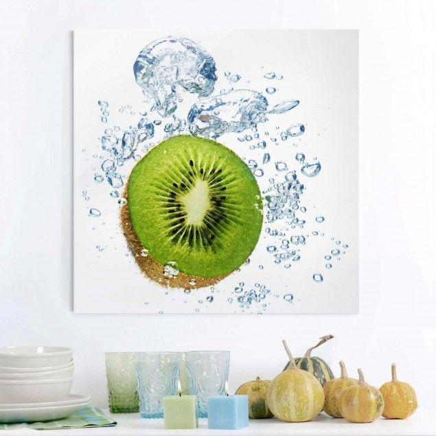 Glasbild Küche - #Kiwi Bubbles - #Quadrat 11 #Früchte #fruit - glasbilder für die küche