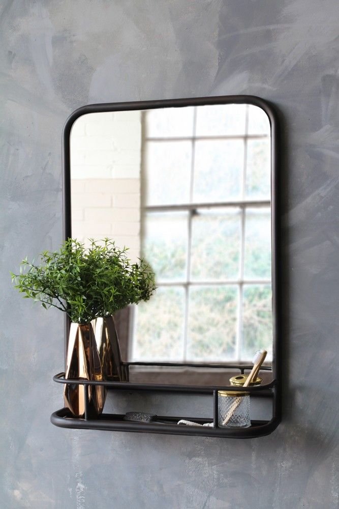 Black Antique Style Wall Mirror With Shelf Portrait From Rockett St George Mirror Wall Living Room Wall Mirror With Shelf Black Wall Mirror