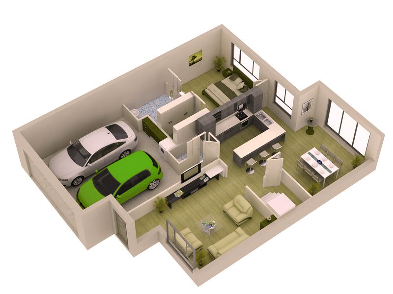 Simple 1 bedroom small modern home plans with garage Simple house design software
