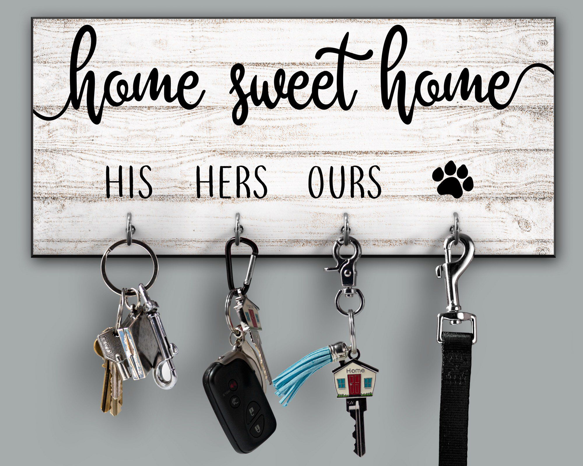Home Sweet Home Personalized Key Holder Housewarming Gift Quote Key Holder His Hers Ours Dog Paw Family Name Key Rack Newlywed Gift In 2020 Key Rack Key Holder Diy House Warming Gifts