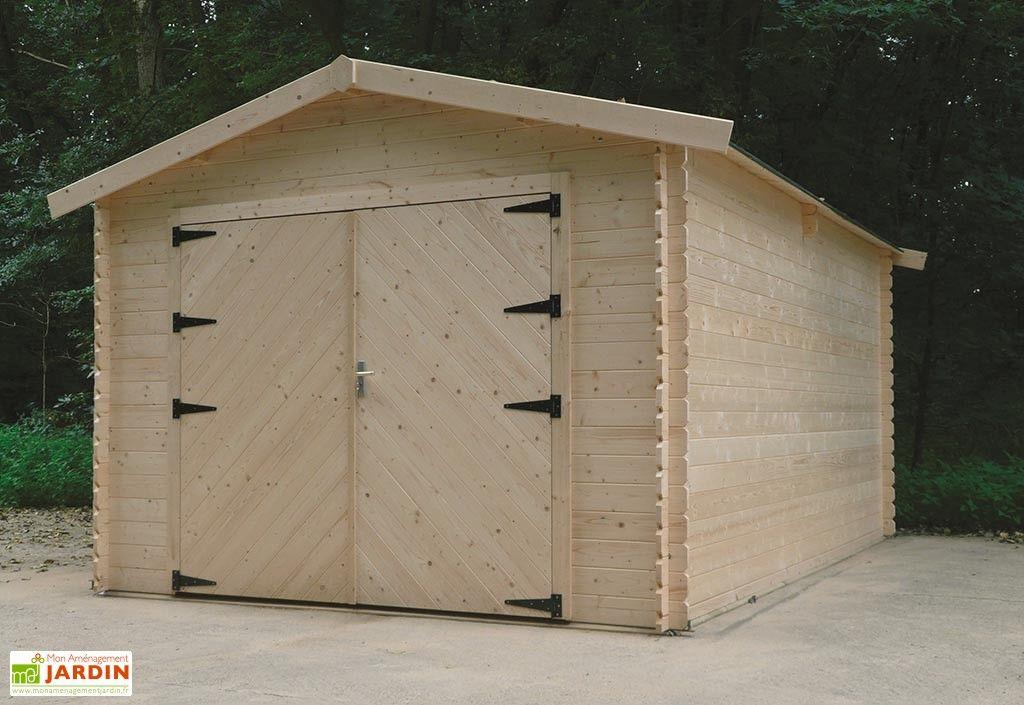 Garage en bois Hobby 28mm (358x508cm) ABRI et RANGEMENT Pinterest - lasure pour bois exterieur