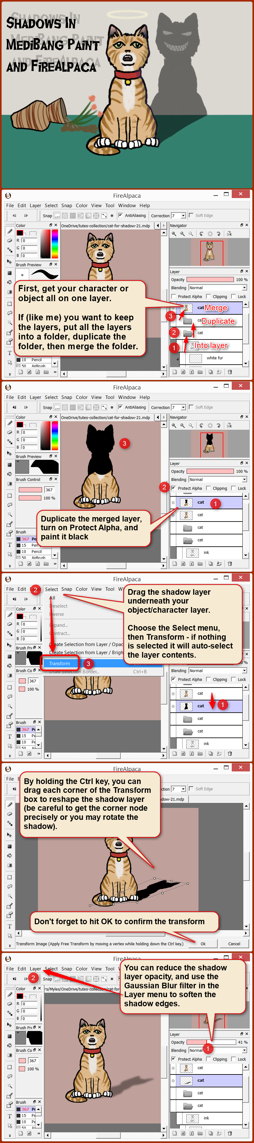Shadow tutorial for FireAlpaca and MediBang Paint by obtusity