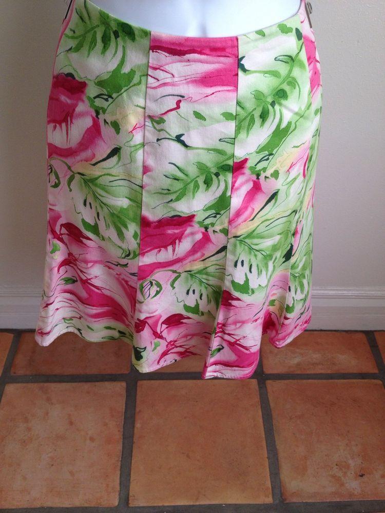 Worthington sz 4 Small Skirt Spring Pink Green Floral Cotton Career Casual B6  | eBay