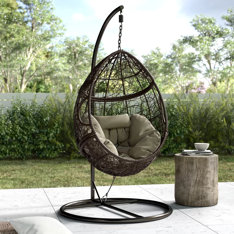 Mid Century Rattan Chair, Trent Austin Design Dawson Outdoor Basket Swing Chair With Stand Reviews Wayfair Swinging Chair Egg Swing Chair Hanging Egg Chair