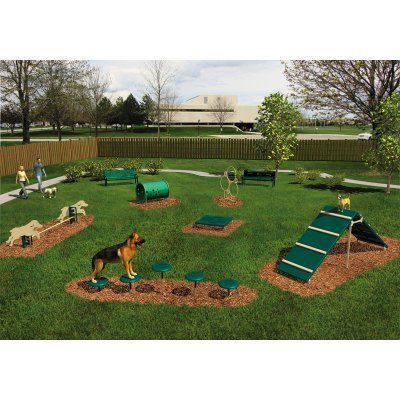 Charmant Agility Course   Intermediate 6 Piece Kit Natural Beige And Green    BARK ITKIT