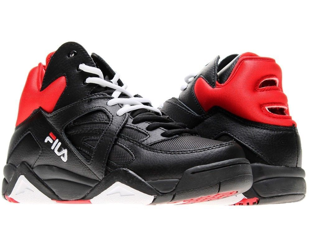 7bed5ba372e Men s Fila Retro The Cage Basketball Sneakers Black White Red Throwback in  Clothing