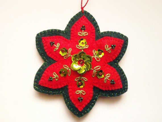 Wool Felt Poinsettia Christmas Ornament by PatriciaWelchDesigns