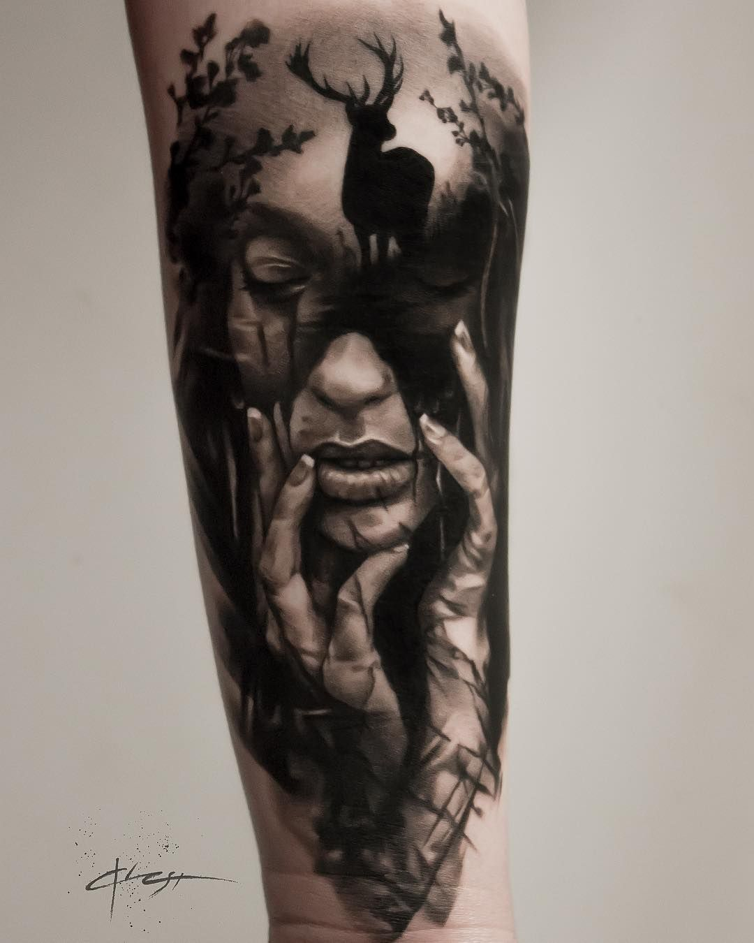 Tattoo Design Woman Face: Amazing Girl Face And Deer Black And Gray Tattoo Design On