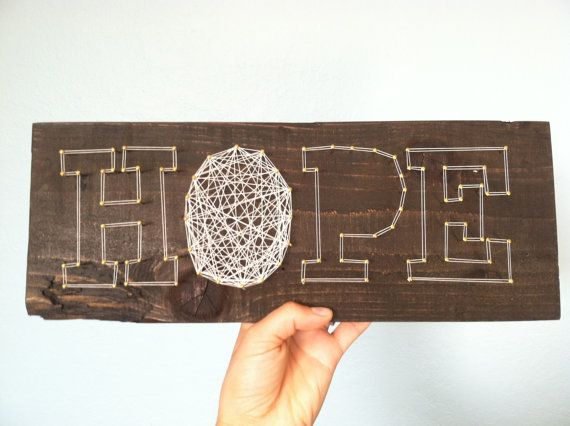 Hope wall hanging mantle piece holiday decor housewarming nail hope wall hanging mantle piece holiday decor housewarming nail thread art brass block letters dark wood prinsesfo Image collections