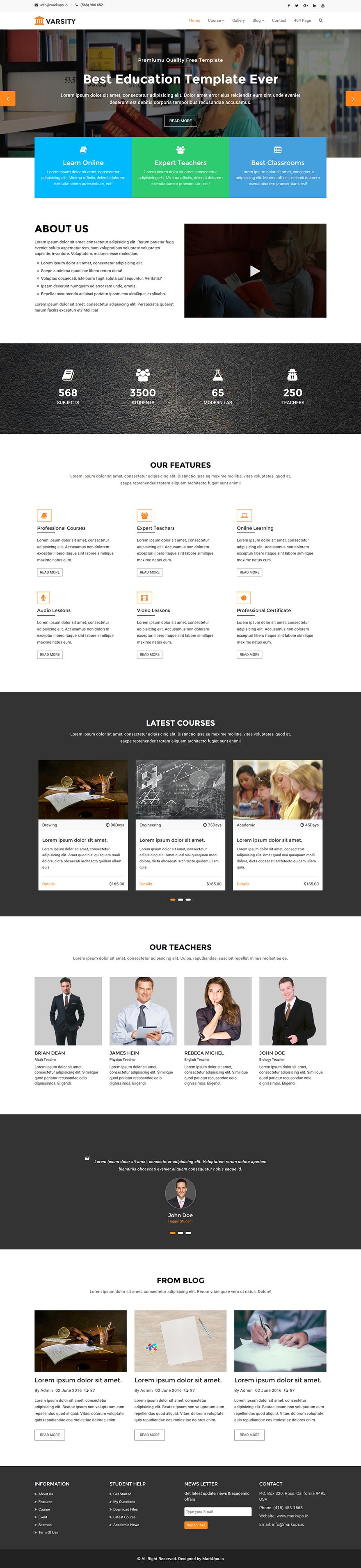 Free Education Website HTML Template - Varsity | Free education ...