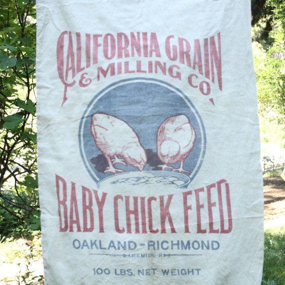 Vintage Muslin Flour Sack California Grain By Roughandrustic