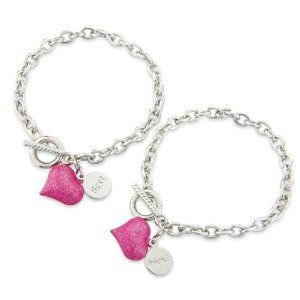 Bestfriends Bracelet, Pink Heart Friendship Bracelet - with 2 Gift Bags for 2 Halves so no one gets left out.