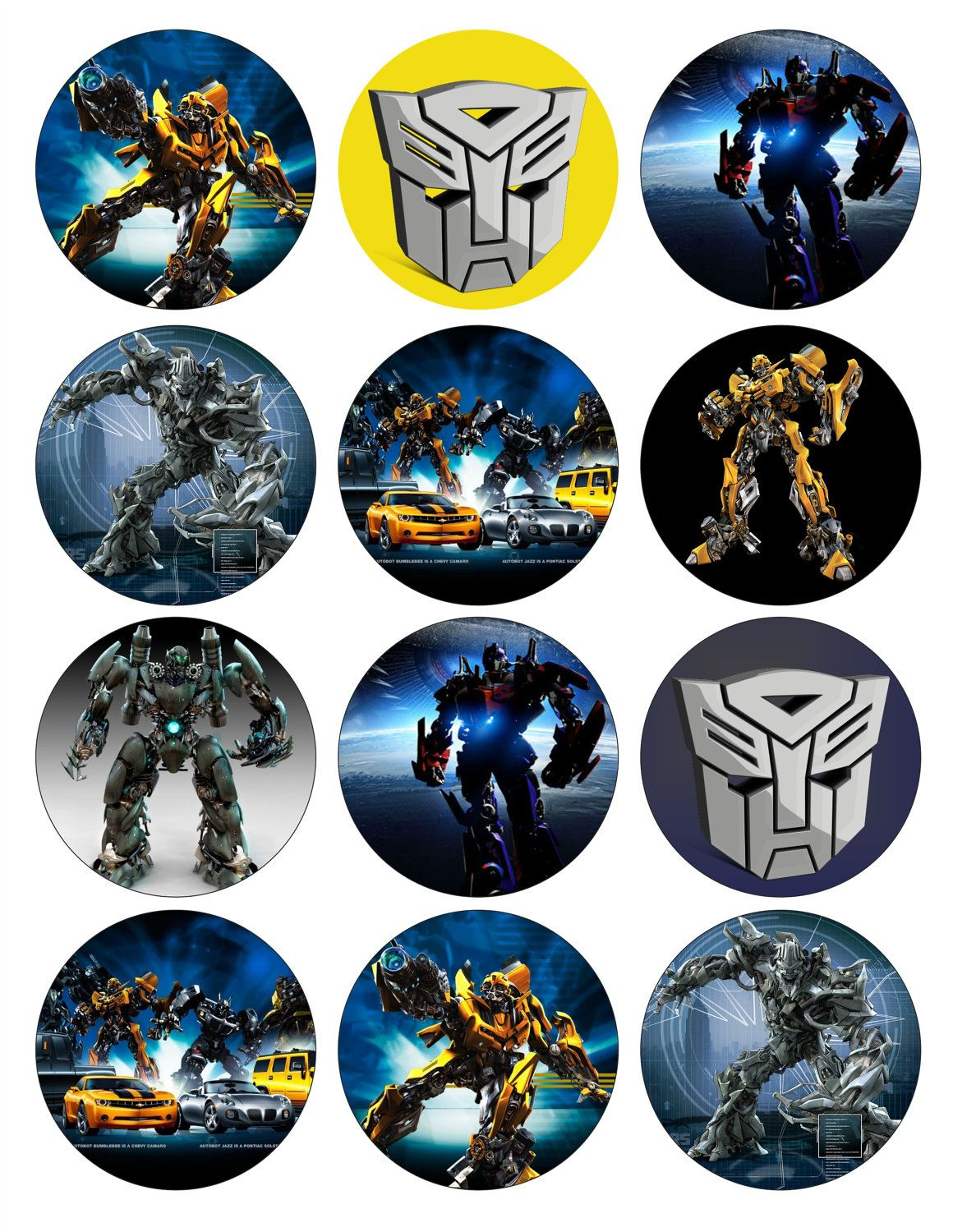 Transformers Printable Birthday Party Cupcake Toppers