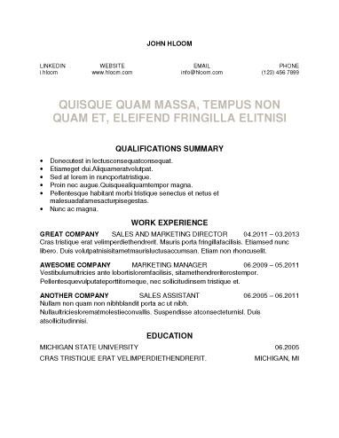 Network Resume Template  Resume Templates And Samples
