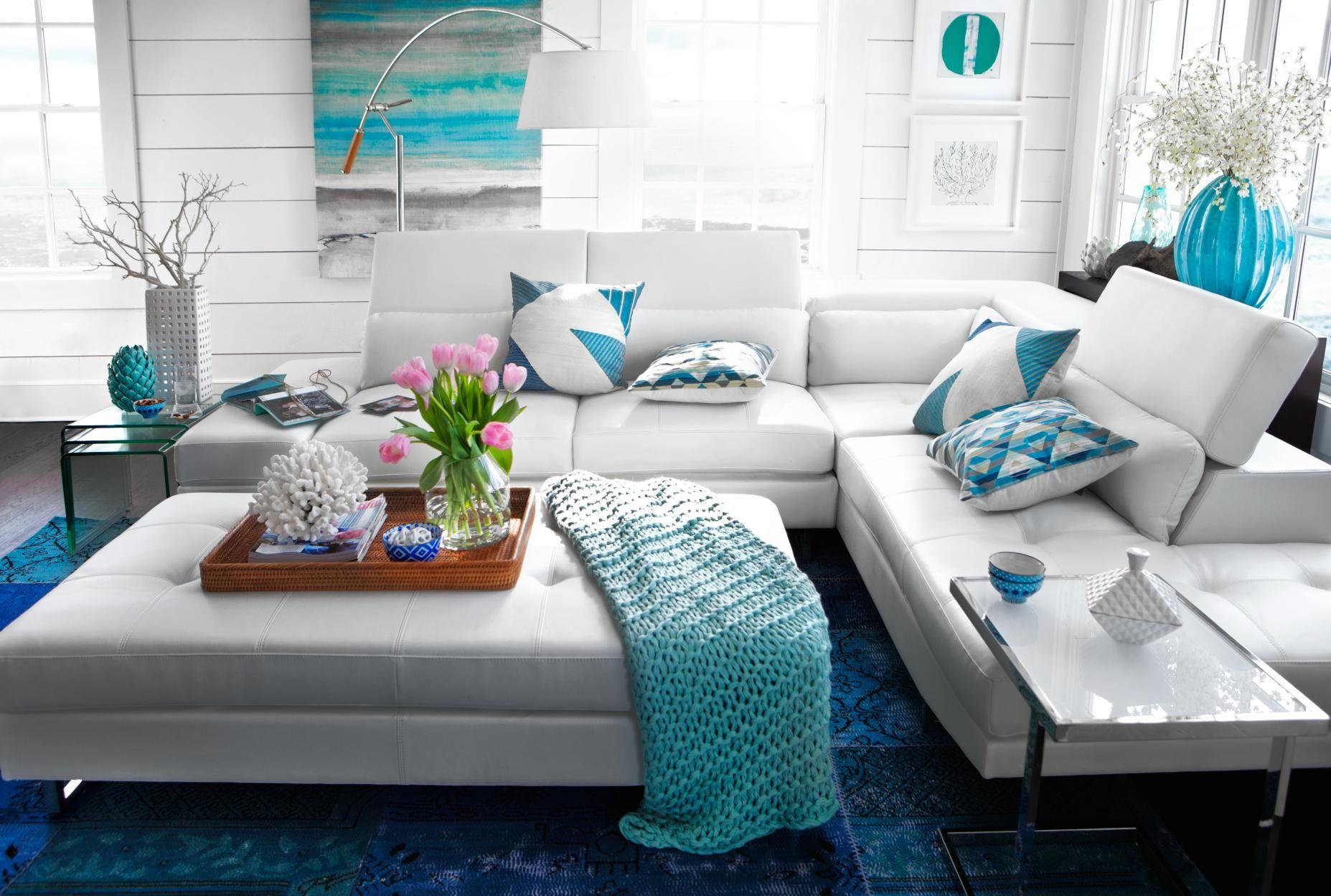 madrid, blue, white, sectional, ottoman | design | Pinterest | White ...