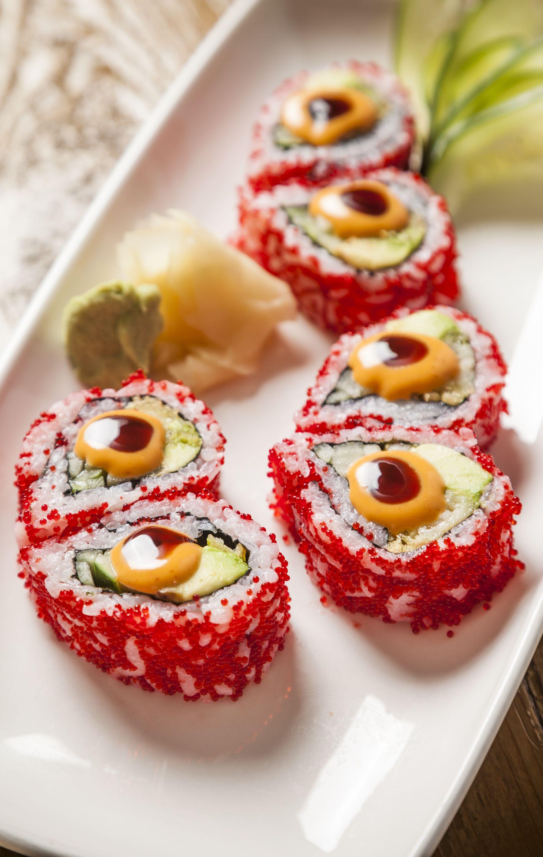 Burning love roll shrimp tempura cucumber and avocado on